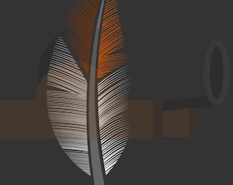 Orange Feather Print