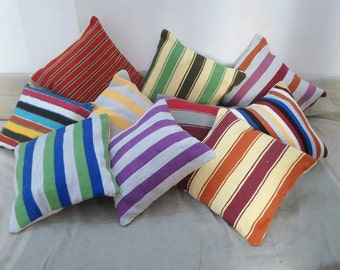 Colorful striped cushion