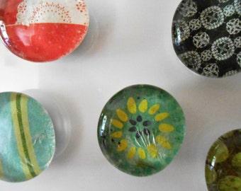 Handmade Glass Gem Magnets.....set of 5
