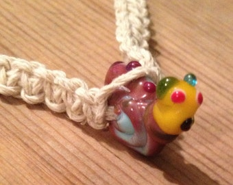 Handcrafted Glass Snail Hemp Necklace