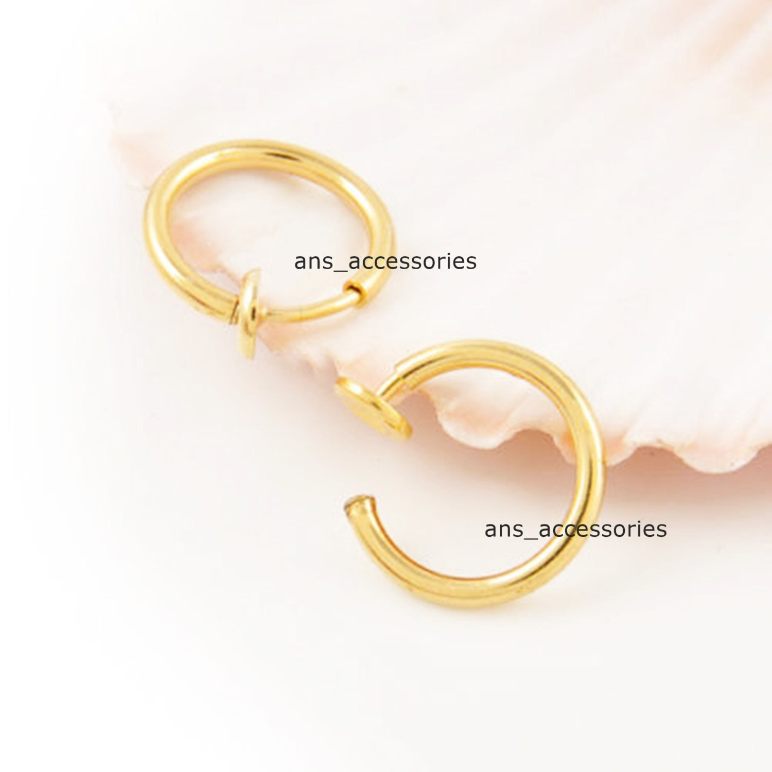 clip on hoop gold thin nose ring ear by