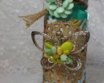 Tea light candle tower. ( teal spring)