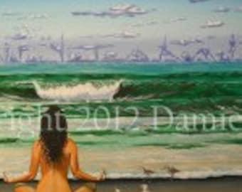 Yoga Art-Ocean Art-Wave Art-Gift-8x10 Print