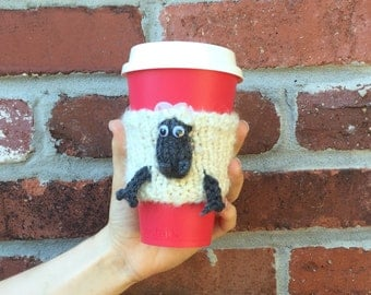 Handmade Knitted Woolly Sheep Coffee Cup cozy Set /  Coffee Cup & Sleeve Set / TO GO coffee Cup Sleeve