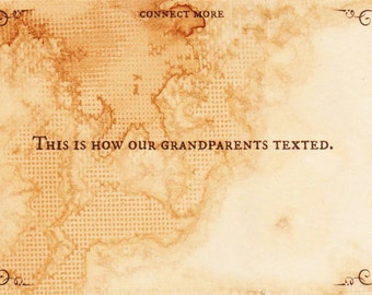 This is How Our Grandparents Texted Postcard, Handmade, Vintage Style, Funny