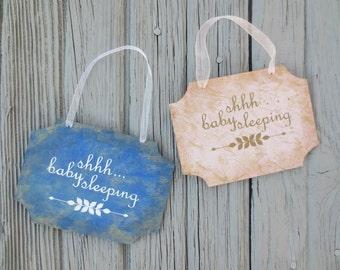 """Wooden Indoor Door Hanger Sign.  """"Shhh... Baby Sleeping"""".  Pink or Blue. Newborn, Infant, Toddler. Quiet Sign, Bedroom, Nursery, Shower Gift"""