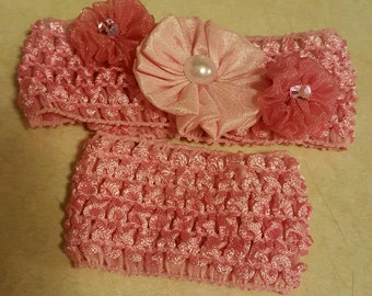 Baby Headband, Mommy and baby matching headband and bracelet,baby headband has 3 flowers, mommy  keepsake,baby shower gift,Christmas gift