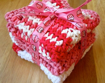 "CROCHET DISHCLOTHS 100% Cotton in Pink and White 8"" x 8"""