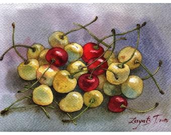 Cherries watercolor painting print