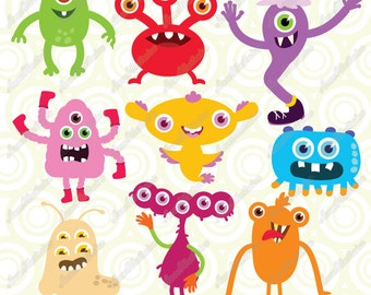 Cute Monster clipart, Personal & Commercial use, Vector illustration