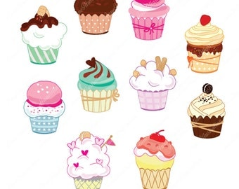 Cupcake Clipart, Personal & Commercial use, Vector,  Instant download Illustration_CA-03