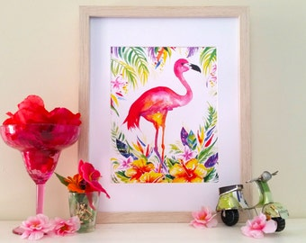 Flamingo Watercolour Print, home decor, wall art, teenage girl, summer party, Hawaii, tropical art, bright pink, artwork, painting