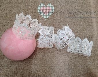 Girls 'Princess' newborn lace crown.