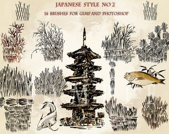 Japanese style,14 brushes for GIMP and Photoshop.Digital download.