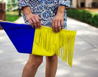 Blue and Yellow suede clutch