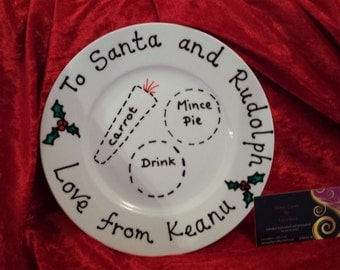 Santa & Rudolph plate