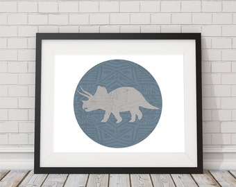 Triceratops Dinosaur Print 8x10, 11x14, 13x19 Nursery Print