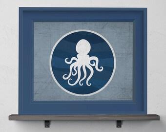 Blue Octopus Nursery Print 8x10, 11x14, 13x19
