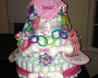 Baby Girl Diaper Cake #1