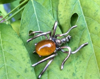SALE***Vintage hand made Sterling amber spider brooch HALLOWEEN FUN!