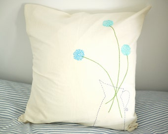 Hand embroidered blue dandelion throw pillow, 16x16, decorative pillow, embroidered cushion, Throw Pillow Cover, FREE SHIPPING
