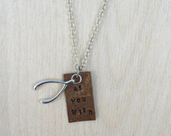 As You Wish Handstamped Lucky Wishbone Charm Necklace 18 Inch Chain One of a Kind Handmade