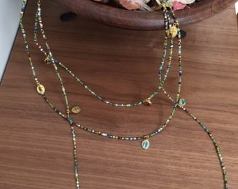 Multi-color beaded long necklace