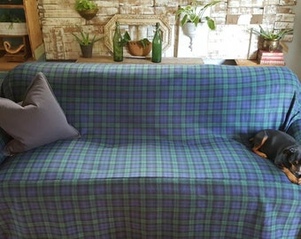 New Design Blizzard Fleece Royal Blue/Green/Black Plaid Couch Slipcover/SofaScarf Pet Throw. Only 1 available