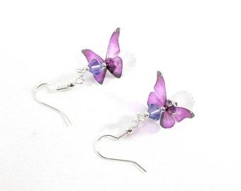 Earrings pink butterflies