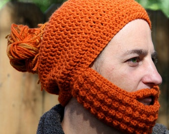 Crochet Hat with Beard and Man Bun, The Boston, Gift for Him, Ginger Hair