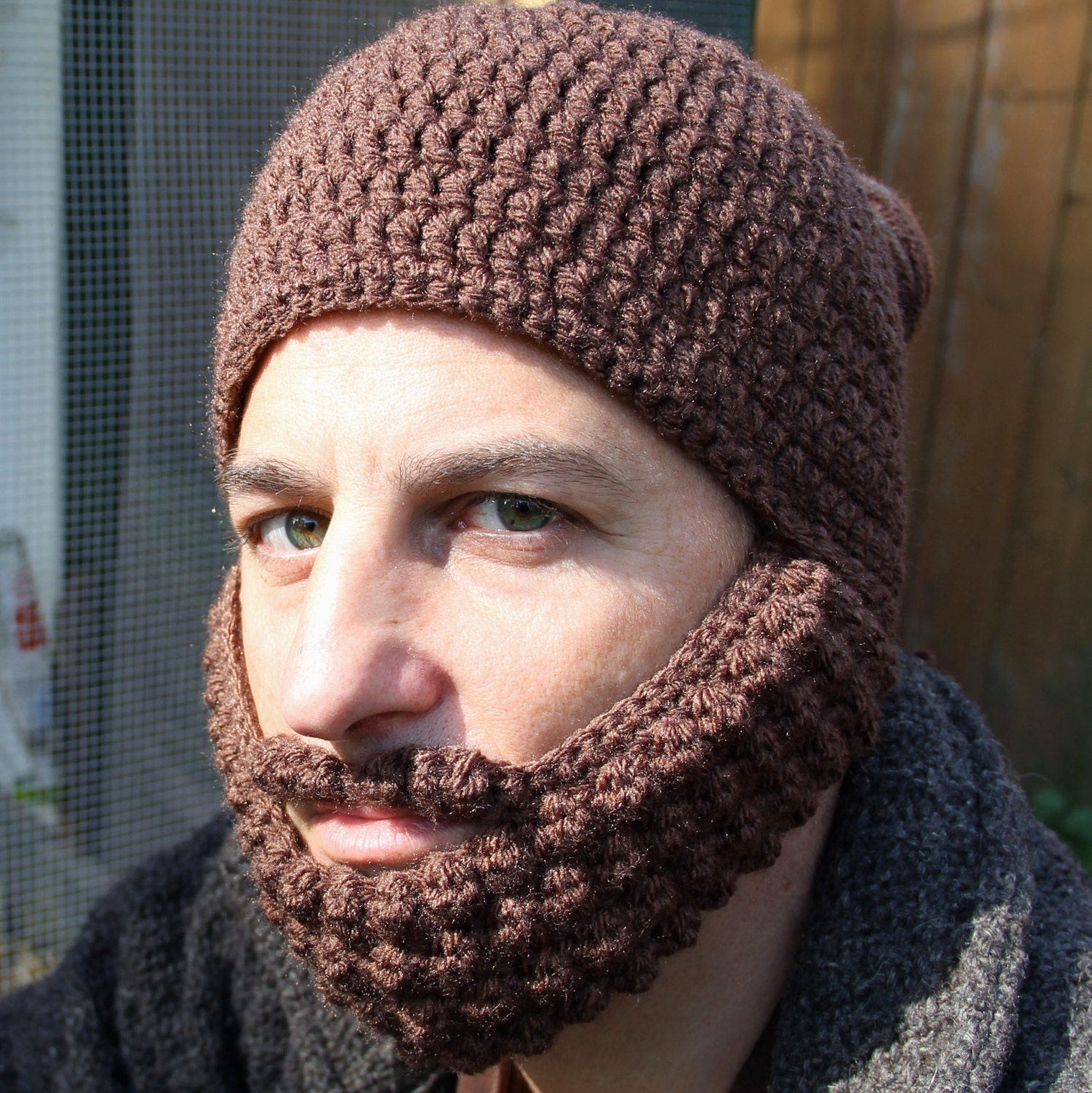 Crochet Hat With Beard Man Bun Hat The Portland Unique By