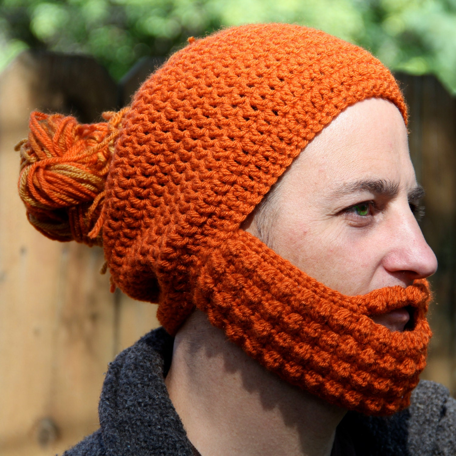 Crochet Bun Hat : Crochet Hat with Beard and Man Bun The Boston Gift for by ManBuns