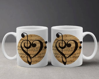 Cute Treble Clefs Heart Love In A Vintage Sheet Music Background Mug M059