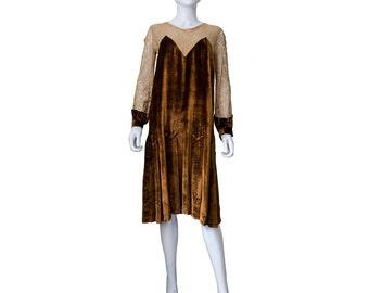 1920s Silk Velvet and Lace Dress
