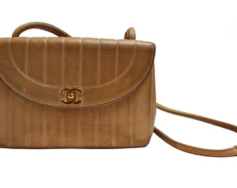 Authentic Sand Leather Chanel Bag