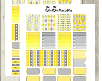 Erin Condren Planner Stickers Yellow and grey (ECLPV) [INSTANT DOWNLOAD]