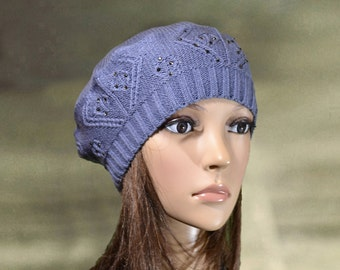Beret knit women, Hats knitted lady, Ladies knit beret, Spring fall beret, Blue knit beret hat, Knitted wool cap, Knit beret lady