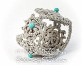 Crochet Boho Beaded Wide Bracelet Pattern - PDF instand download - DIY jewelry tutorial - Wrist Cuff - Medieval style crochet pattern