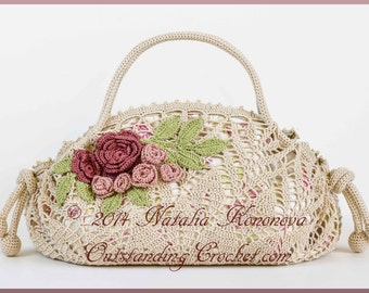 Crochet Bag Pattern - Crochet Purse Pattern - Crochet Handbag Pattern - Crochet Lace Flower and Leaf Motif Embellished Purse - PDF Pattern