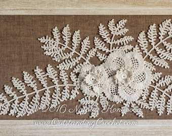 Crochet Flower Pattern - Crochet Leaf Pattern - Irish Crochet Lace Motif Applique Pattern - Fiber Art - Crochet Home Wall Decor - PDF