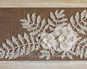Crochet PATTERN Flower Leaf Applique - Irish Crochet Lace Motif - Fiber Art - Home Wall Decor - PDF