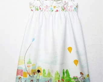 Girls Border Print Cotton Summer Dress 2-3 Years