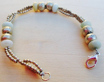 Pale Blue Amazonite and Silver Bracelet