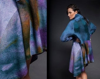 Blue Wool coat, felted wool coat, hand-dye outerwear, colorful wool coat, oversize, unstructured