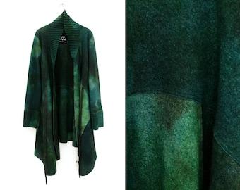 Green wool coat, Light wool coat, Felt outerwear, Felt coat, Luxury, Soft merino long cardigan