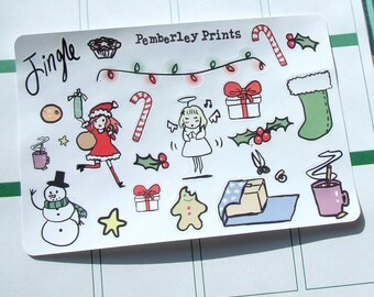 23 Decorative Hand Drawn Christmas Stickers Perfect for Planners and Scrapbooks