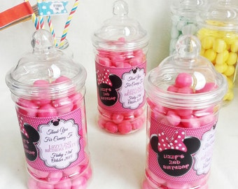 Personalised Minnie Mouse Birthday party Sweet Jar Gift / Favour (Empty)