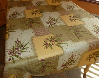 """Tablecloth Model Olive trees branches  100% Polyester 84 """" X 58 """""""