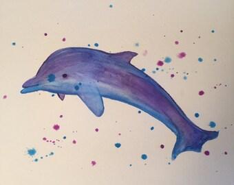 Watercolor Dolphin Splatter