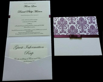 Purple Damask Wedding Invitations - Wallet & Postcard